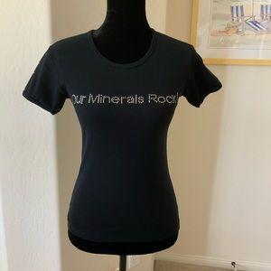 Jane Iredale Swarovski Crystal Black Logo Tee SzM